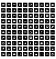 100 railway icons set grunge style vector image