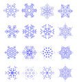 sixteen snowflakes as winter design element vector image vector image