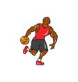 Basketball Player Dribbling Ball Cartoon vector image