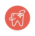 Shining tooth thin line icon vector image