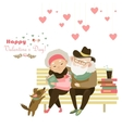 Old couple in love sitting on bench vector image