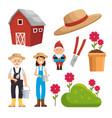 gardening equipment set flat icons vector image