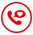 love phone message rounded icon vector image