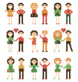 set of pixel people vector image