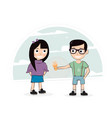 the boy gives the girl ice cream vector image