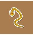 paper sticker on stylish background Kids toy snake vector image