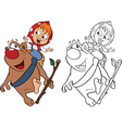 Girl and the Bear Coloring book vector image vector image