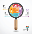 infographic Template with magnifier jigsaw banner vector image
