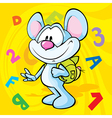 cute mouse cartoon with school bag vector image