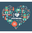 Fitness Icons background in heart shape I love vector image