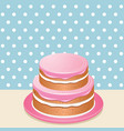 Pink iced cake vector image