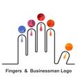 Fingers and businessman logo design templat vector image