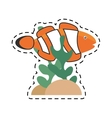 clown fish coral anemone reef line dotted vector image