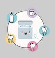 dental floss box kawaii with happiness expression vector image