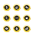 Gold circle and check mark withbusiness icons vector image