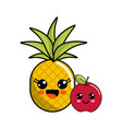 kawaii happy pineapple and apple icon vector image