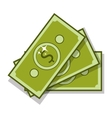 silhouette with three dollar bills closeup vector image