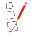 test ticking with red pencil vector image