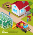 farm life daily activities isometric poster vector image