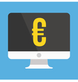 Computer Display and Euro Sign Icon vector image vector image
