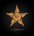 Origami Star from old paper on black background vector image