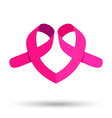 Two pink ribbons for breast cancer awareness help vector image vector image