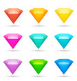 colorful shiny diamond icons set vector image
