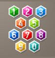 Diamond shaped glass numbers set vector image