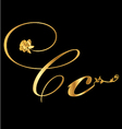 Gold letter C with roses vector image