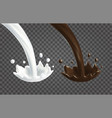 pouring splash of milk and chocolate vector image