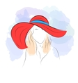Woman in summer hat vector image