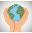 hand holds world earth icon design vector image