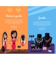 Women in Jewels and Jeweler Banner Jewelry vector image