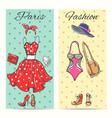 paris fashion clothes cards vector image