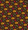 hedgehog bird and acorn pattern vector image