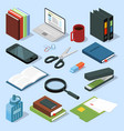 3d office equipment isometric set books folders vector image