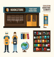 bookstore set design shop store package t-shirt ca vector image