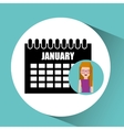 girl blonde calendar date icon vector image