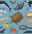sea animals tropical character vector image