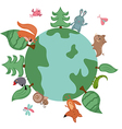 Globe with wild animals and plants vector image
