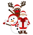 Santa Claus with snowman and reindeer cartoon a vector image