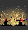 striped dj silhouette male and female vector image vector image