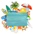beach concept with blue board vector image vector image