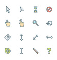 colored outline various cursors icons set vector image