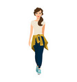 girl with knitted sweater on waist vector image