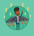 happy businessman flying on the rocket to success vector image