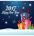 happy new year 2017 greeting card gifts over snow vector image