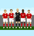 soccer players team group with goalkeeper vector image