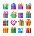 gifts or presents boxes icocns set vector image