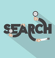 Magnifying Glasses In Hand With Search Typography vector image